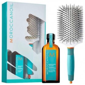 Moroccanoil Set Ceramic Paddle Brush and Oil Treatment (100ml)